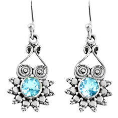 1.66cts natural blue topaz 925 sterling silver dangle earrings jewelry r59621