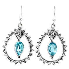 4.26cts natural blue topaz 925 sterling silver dangle earrings jewelry r59805