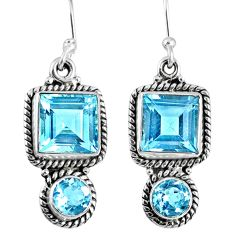 9.02cts natural blue topaz 925 sterling silver dangle earrings jewelry r59862