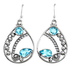5.63cts natural blue topaz 925 sterling silver dangle earrings jewelry r59866