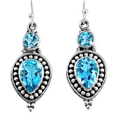5.62cts natural blue topaz 925 sterling silver dangle earrings jewelry r59871