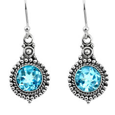 5.08cts natural blue topaz 925 sterling silver dangle earrings jewelry r60502