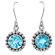 5.80cts natural blue topaz 925 sterling silver dangle earrings jewelry r60505