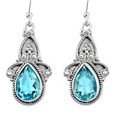 7.23cts natural blue topaz 925 sterling silver dangle earrings jewelry r60511