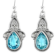 7.25cts natural blue topaz 925 sterling silver dangle earrings jewelry r60513