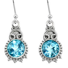 4.51cts natural blue topaz 925 sterling silver dangle earrings jewelry r60516