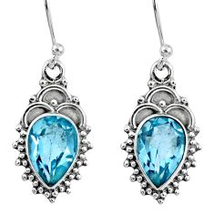 5.54cts natural blue topaz 925 sterling silver dangle earrings jewelry r60517