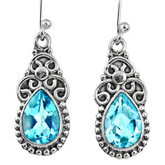 6.36cts natural blue topaz 925 sterling silver dangle earrings jewelry r60574