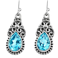 6.10cts natural blue topaz 925 sterling silver dangle earrings jewelry r60580
