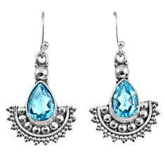 6.04cts natural blue topaz 925 sterling silver dangle earrings jewelry r60656