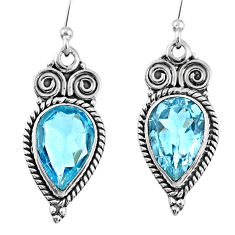 6.04cts natural blue topaz 925 sterling silver dangle earrings jewelry r60660