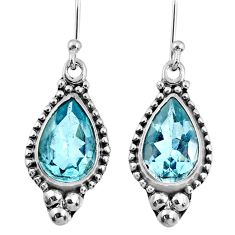 7.97cts natural blue topaz 925 sterling silver dangle earrings jewelry r60661