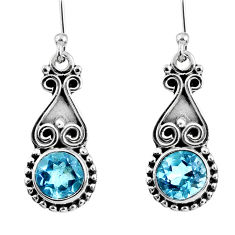 5.10cts natural blue topaz 925 sterling silver dangle earrings jewelry r60663