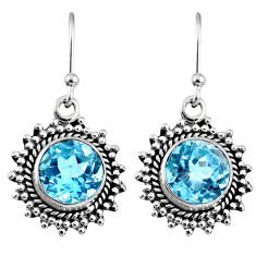 5.81cts natural blue topaz 925 sterling silver dangle earrings jewelry r60667