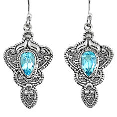 4.38cts natural blue topaz 925 sterling silver dangle earrings jewelry r61005