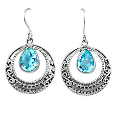 5.42cts natural blue topaz 925 sterling silver dangle earrings jewelry r61009