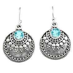 3.40cts natural blue topaz 925 sterling silver dangle earrings jewelry r65125