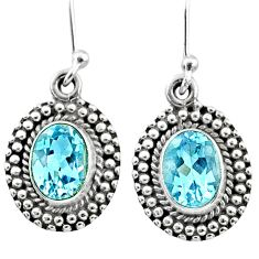 4.69cts natural blue topaz 925 sterling silver dangle earrings jewelry r65145