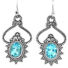 4.56cts natural blue topaz 925 sterling silver dangle earrings jewelry r65149
