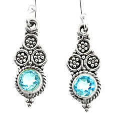 2.21cts natural blue topaz 925 sterling silver dangle earrings jewelry r65153
