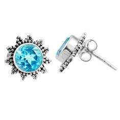 4.46cts natural blue topaz 925 sterling silver stud earrings jewelry r67039