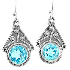 6.22cts natural blue topaz 925 sterling silver dangle earrings jewelry r67041