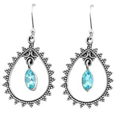 4.47cts natural blue topaz 925 sterling silver dangle earrings jewelry r67066