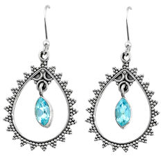 4.03cts natural blue topaz 925 sterling silver dangle earrings jewelry r67081