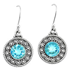 5.52cts natural blue topaz 925 sterling silver dangle earrings jewelry r67106