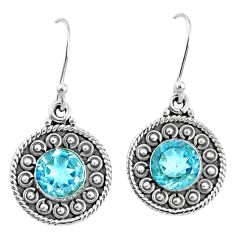 5.57cts natural blue topaz 925 sterling silver dangle earrings jewelry r67107