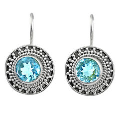 6.29cts natural blue topaz 925 sterling silver dangle earrings jewelry r67185