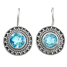 5.87cts natural blue topaz 925 sterling silver dangle earrings jewelry r67261