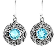 6.02cts natural blue topaz 925 sterling silver dangle earrings jewelry r67265