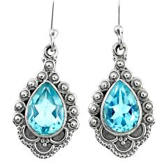 5.10cts natural blue topaz 925 sterling silver dangle earrings jewelry r67266