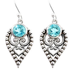 2.33cts natural blue topaz 925 sterling silver dangle earrings jewelry r67885