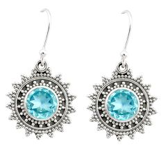 5.28cts natural blue topaz 925 sterling silver dangle earrings jewelry r68374