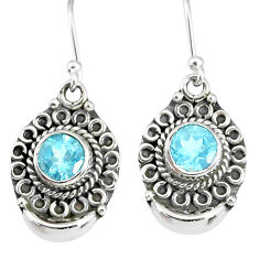 2.39cts natural blue topaz 925 sterling silver dangle earrings jewelry r89314