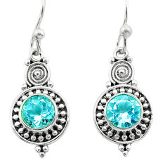 2.56cts natural blue topaz 925 sterling silver dangle earrings jewelry t30048
