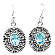 3.26cts natural blue topaz 925 sterling silver dangle earrings jewelry t30117