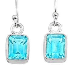 3.94cts natural blue topaz 925 sterling silver dangle earrings jewelry t41973