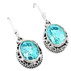6.36cts natural blue topaz 925 sterling silver dangle earrings jewelry t46812