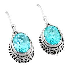 5.82cts natural blue topaz 925 sterling silver dangle earrings jewelry t46833