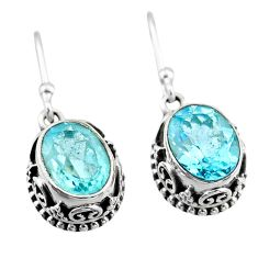 6.25cts natural blue topaz 925 sterling silver dangle earrings jewelry t46852