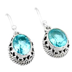 5.51cts natural blue topaz 925 sterling silver dangle earrings jewelry t46864