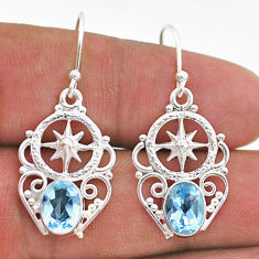 4.06cts natural blue topaz 925 sterling silver dangle earrings jewelry t47030