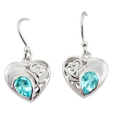 3.43cts natural blue topaz 925 sterling silver dangle heart earrings d40065