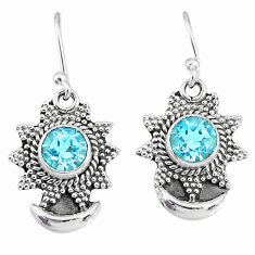 2.39cts natural blue topaz 925 sterling silver dangle moon earrings r89149