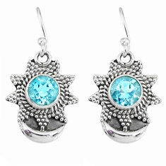 2.41cts natural blue topaz 925 sterling silver dangle moon earrings r89164