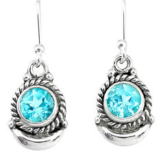 2.67cts natural blue topaz 925 sterling silver dangle moon earrings r89206