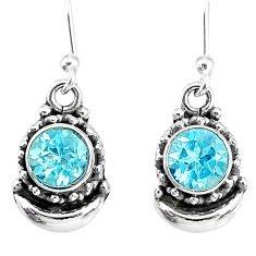 2.53cts natural blue topaz 925 sterling silver dangle moon earrings r89228